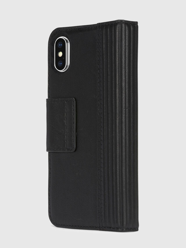 Diesel - BLACK LINED LEATHER IPHONE X FOLIO, Black - Flip covers - Image 4