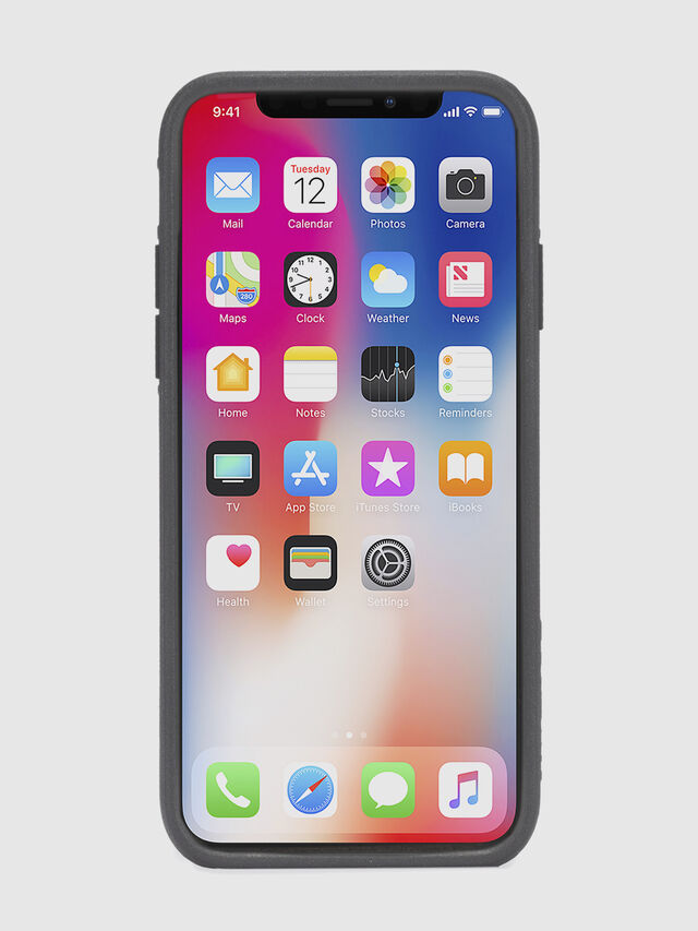 Diesel BLACK LINED LEATHER IPHONE X CASE, Black Leather - Cases - Image 4