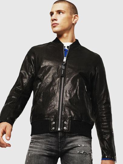Diesel - L-DAVIDOV, Black - Leather jackets - Image 1