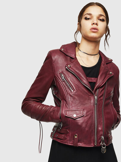 Diesel - L-SINYA-A, Bordeaux - Leather jackets - Image 1