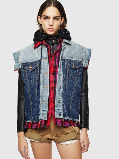 Diesel - L-MARALI, Blue/Black - Leather jackets - Image 1