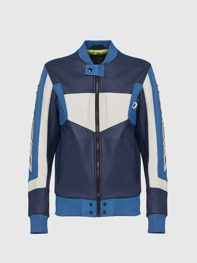 Diesel - L-MAY, Blue/White - Leather jackets - Image 1