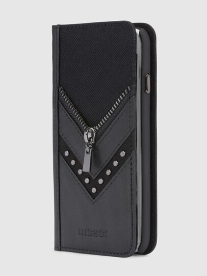 Diesel - BLACK DENIM/STUD/ZIPPER IPHONE 8/7 FOLIO,  - Flip covers - Image 1