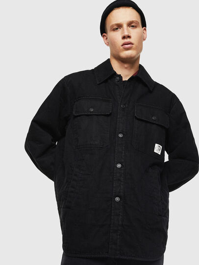 Diesel - D-WELLES, Black/Red - Denim Shirts - Image 1