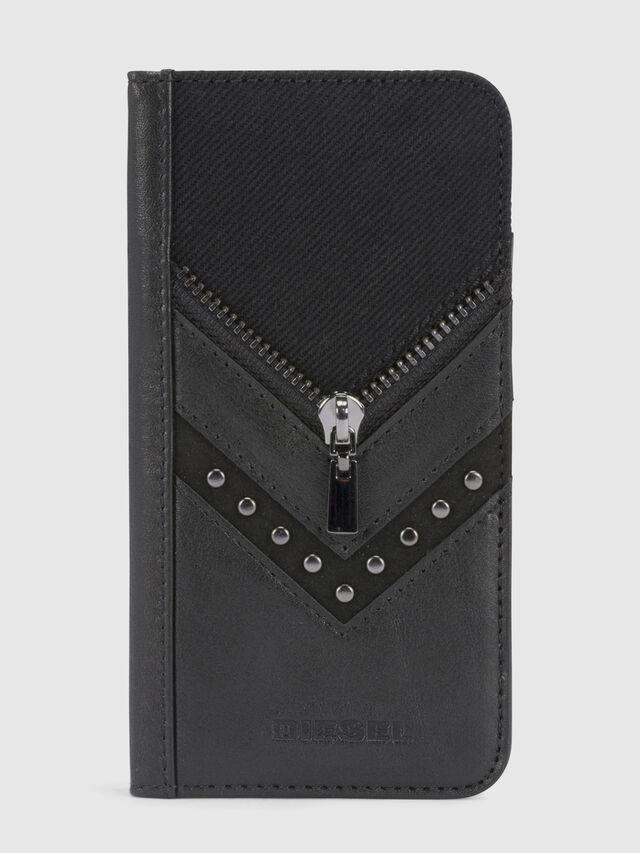 Diesel - BLACK DENIM/STUD/ZIPPER IPHONE X FOLIO, Black - Flip covers - Image 2