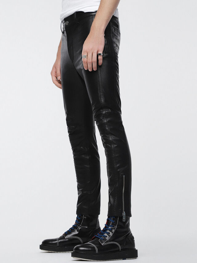 Diesel - P-MONTE-L, Black Leather - Pants - Image 3