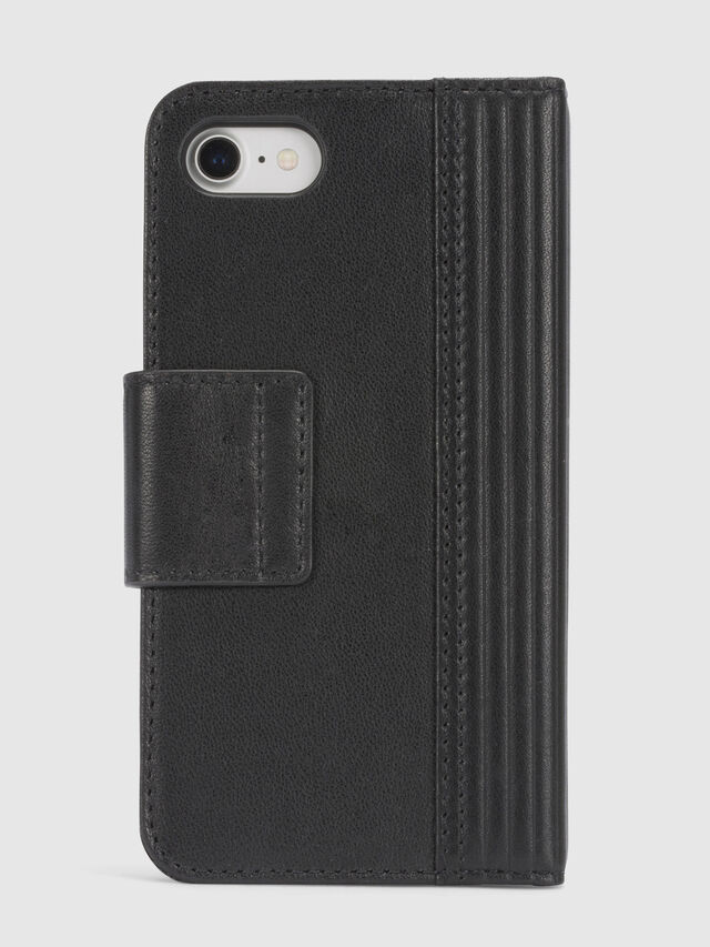 Diesel - BLACK LINED LEATHER IPHONE 8/7 FOLIO, Black - Flip covers - Image 4
