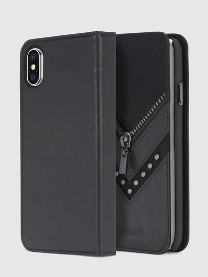 Diesel - BLACK DENIM/STUD/ZIPPER IPHONE X FOLIO, Black - Flip covers - Image 1