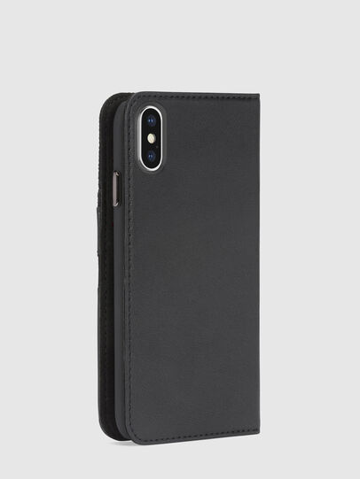 Diesel - BLACK DENIM/STUD/ZIPPER IPHONE X FOLIO, Black - Flip covers - Image 5