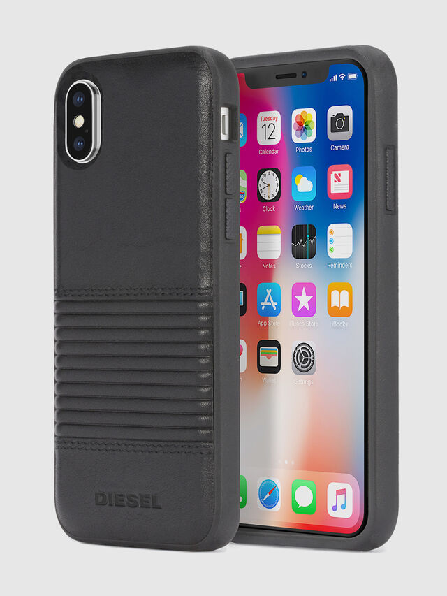 Diesel BLACK LINED LEATHER IPHONE X CASE, Black Leather - Cases - Image 1