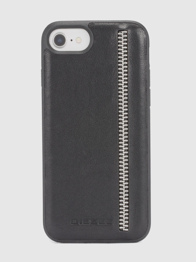 Diesel ZIP BLACK LEATHER IPHONE 8/7/6s/6 CASE, Black - Cases - Image 2