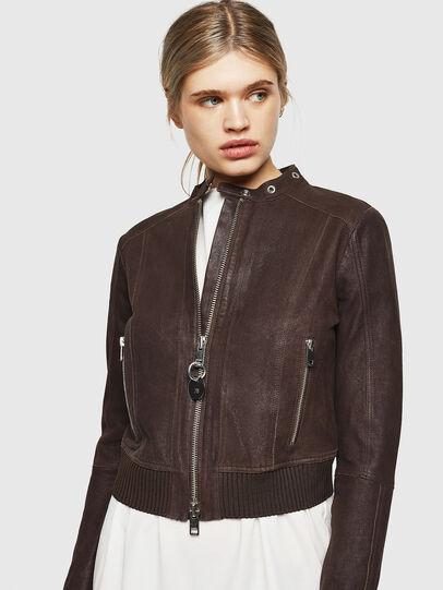 Diesel - L-LYSSA-G, Brown - Leather jackets - Image 1