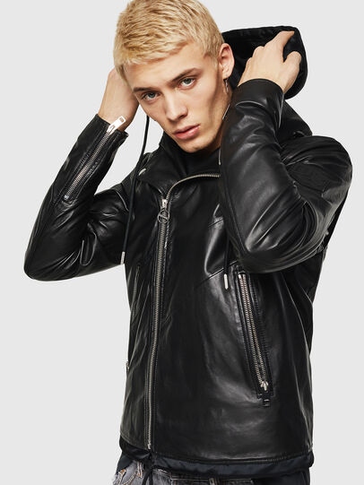 Diesel - L-SOLOVE, Black - Leather jackets - Image 4
