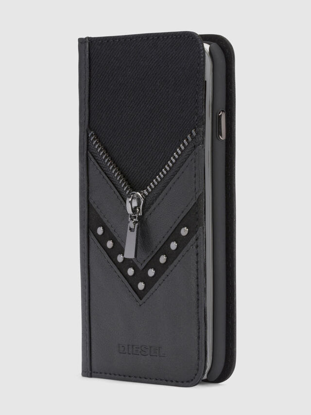 Diesel BLACK DENIM/STUD/ZIPPER IPHONE X FOLIO, Black - Flip covers - Image 4