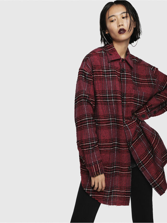 14c73cfe4a C-TARO-FL Women  Check flannel shirt with tape details