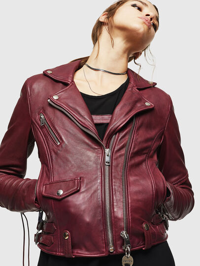 Diesel - L-SINYA-A, Bordeaux - Leather jackets - Image 4