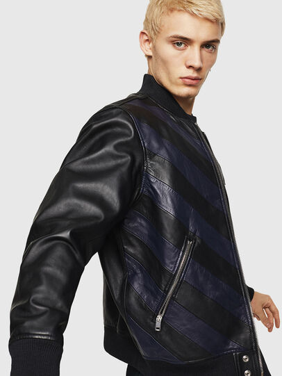 Diesel - L-OLEG, Black/Blue - Leather jackets - Image 4