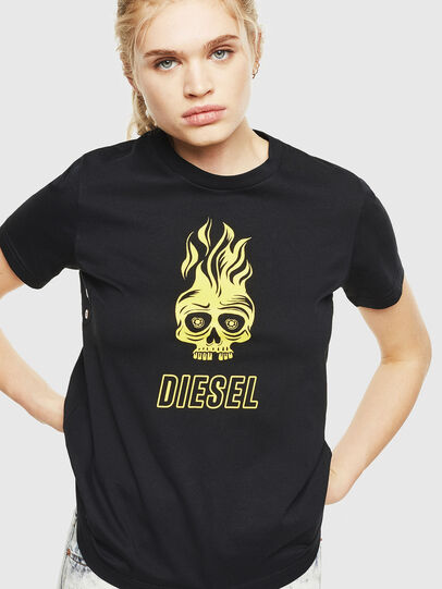 Diesel - T-SILY-WQ, Black/Yellow - T-Shirts - Image 1
