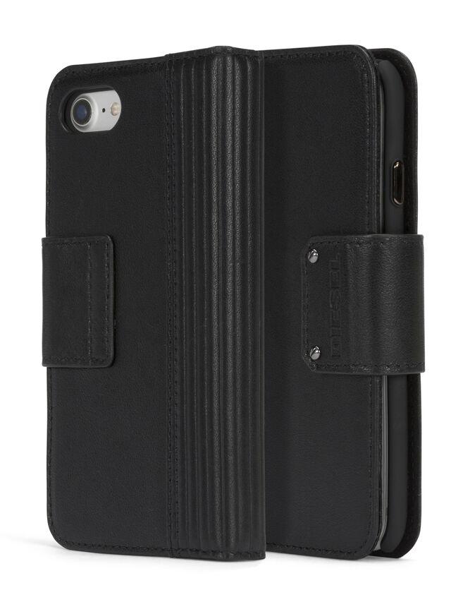 Diesel - BLACK LINED LEATHER IPHONE 8 PLUS/7 PLUS FOLIO, Black - Flip covers - Image 3