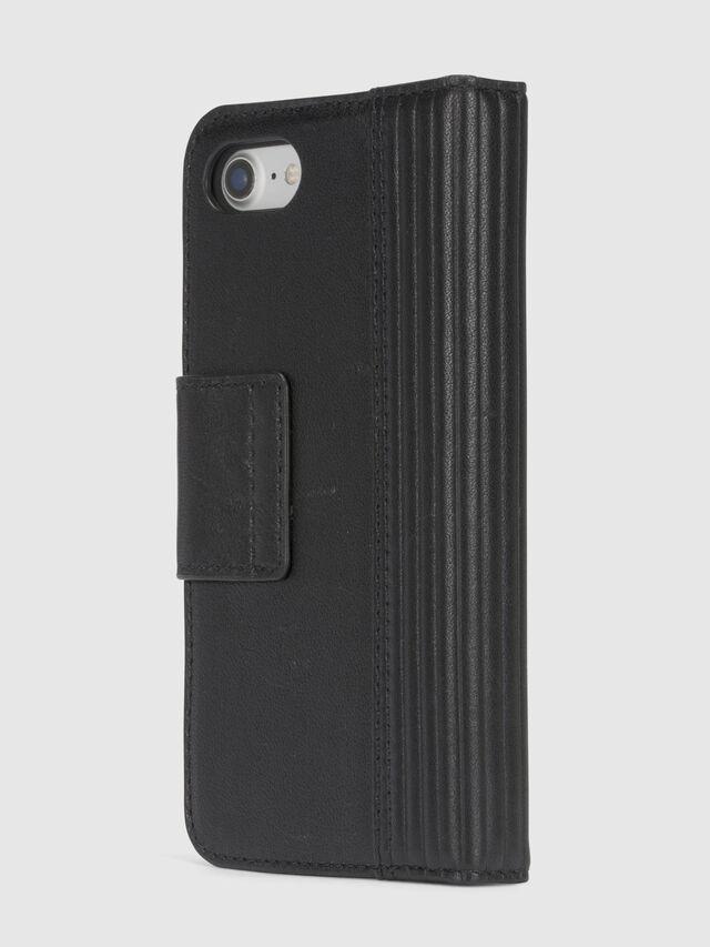Diesel BLACK LINED LEATHER IPHONE 8/7 FOLIO, Black - Flip covers - Image 5
