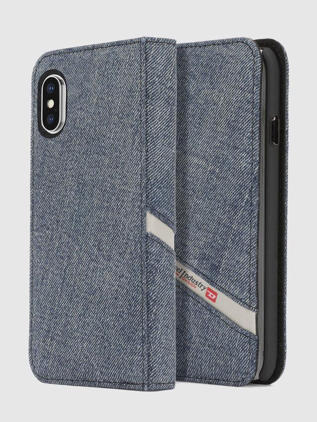 Diesel DENIM IPHONE X FOLIO, Blue Jeans - Flip covers - Image 1