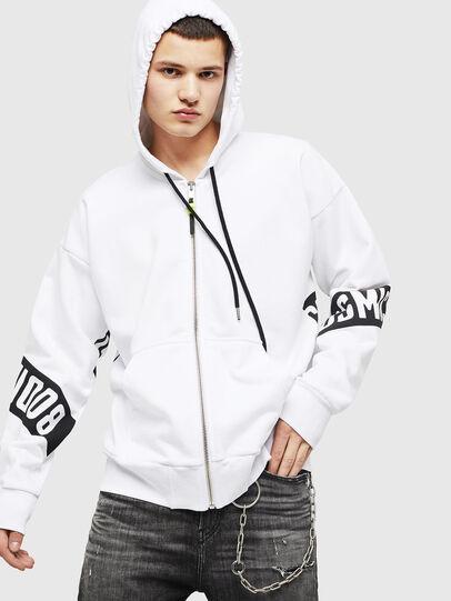 Diesel - S-ALBY-ZIP-A1, White/Black - Sweaters - Image 1