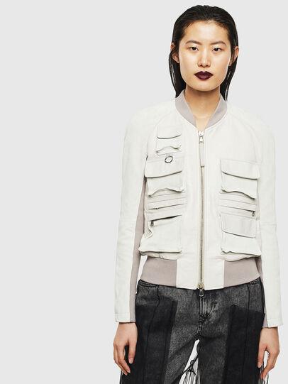 Diesel - L-CERITE, White - Leather jackets - Image 1