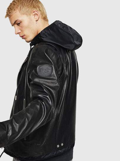 Diesel - L-SOLOVE, Black - Leather jackets - Image 3