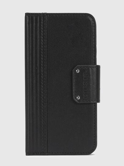 Diesel - BLACK LINED LEATHER IPHONE X FOLIO, Black - Flip covers - Image 2