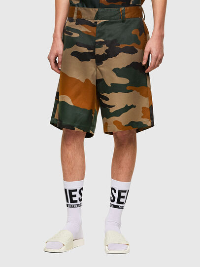 Diesel - P-BERTI-CAMU, Green/Brown - Shorts - Image 1