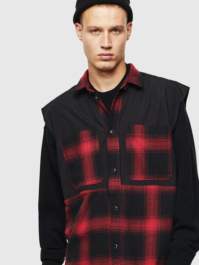 Diesel - D-WELLES, Black/Red - Denim Shirts - Image 5