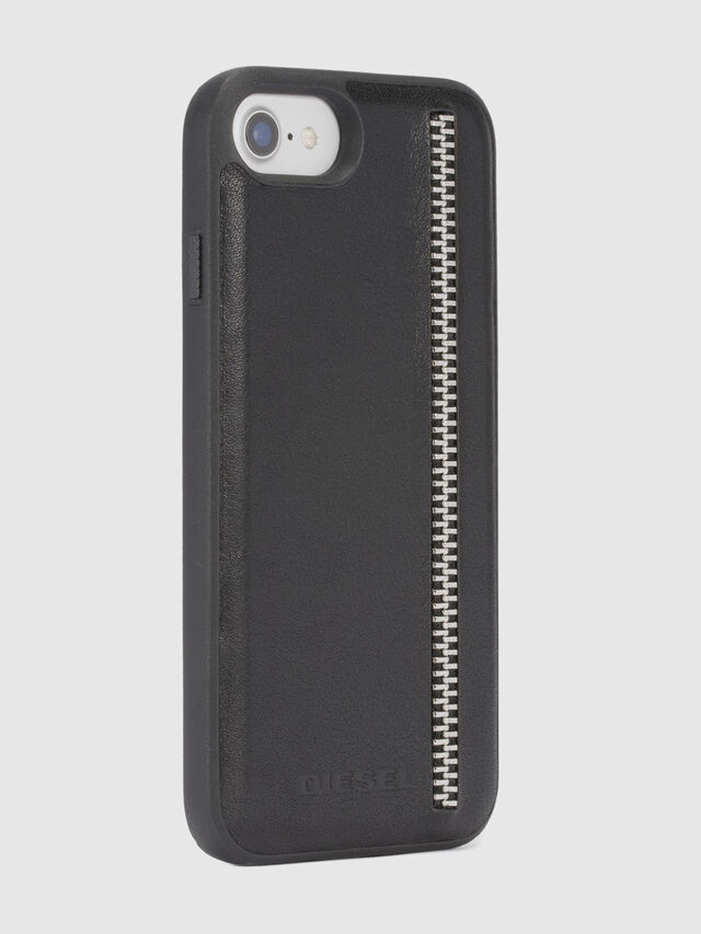 Diesel ZIP BLACK LEATHER IPHONE 8/7/6s/6 CASE, Black - Cases - Image 5